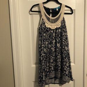 Blue Floral Sundress w/ Crocheted Neckline